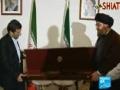 Hezbollah leader Nasrallah gives Ahmadinejad a Israeli soldiers rifle - 15 OCT 2010 - English
