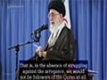 Struggling against the arrogance and the hegemonic system cannot be stopped - Farsi Sub English